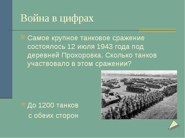 Война в цифрах Самое крупное танковое сражение состоялось 12 июля 1943 года п...