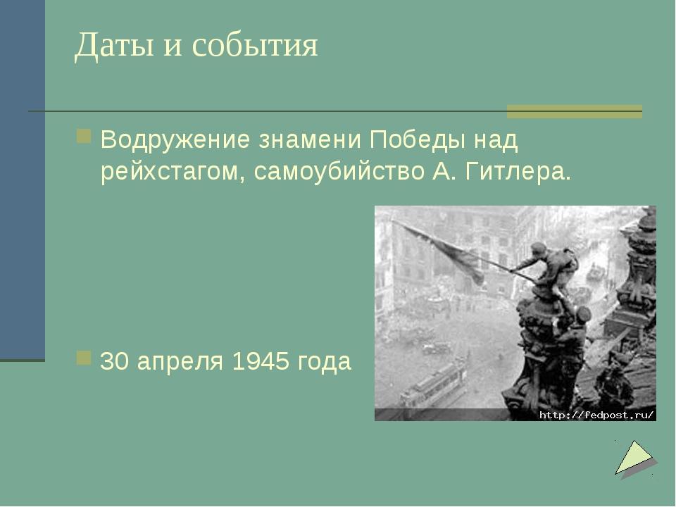 Даты и события Водружение знамени Победы над рейхстагом, самоубийство А. Гитл...