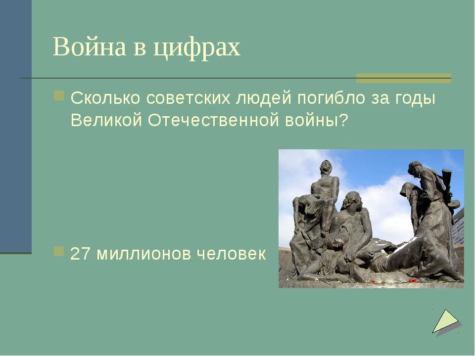 Война в цифрах Сколько советских людей погибло за годы Великой Отечественной...