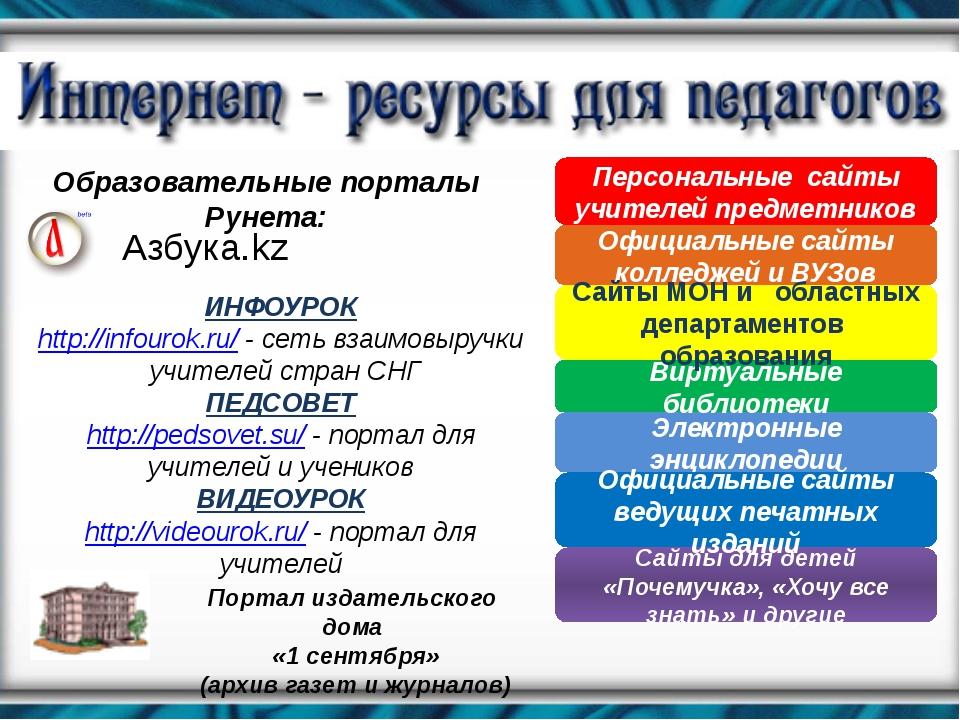 Образовательные порталы Рунета: Азбука.kz ИНФОУРОК http://infourok.ru/ - сеть...
