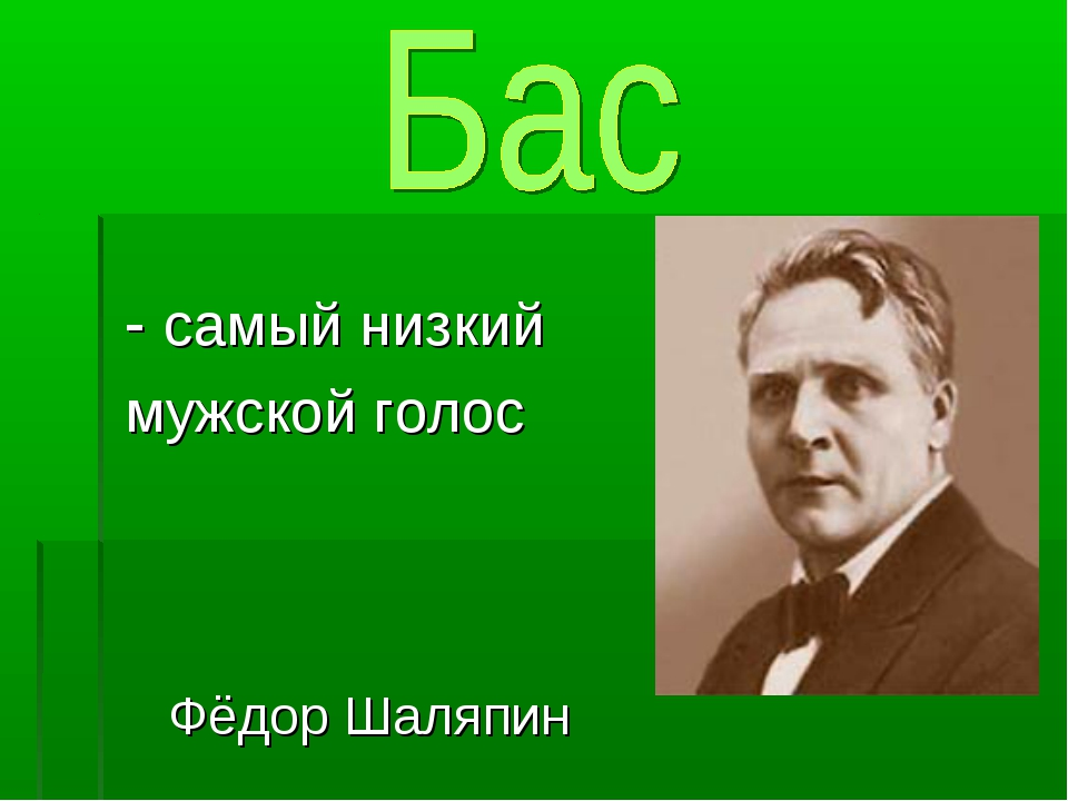 - самый низкий мужской голос Фёдор Шаляпин