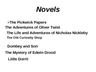 Novels The Adventures of Oliver Twist The Life and Adventures of Nicholas Nic