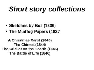 Short story collections Sketches by Boz (1836) The Mudfog Papers (1837 A Chri