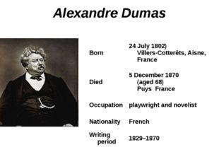 Alexandre Dumas Born24 July 1802) Villers-Cotterêts, Aisne, France Died5 De