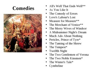 Comedies ‡ Measure for Measure The All's Well That Ends Well** As You Like It
