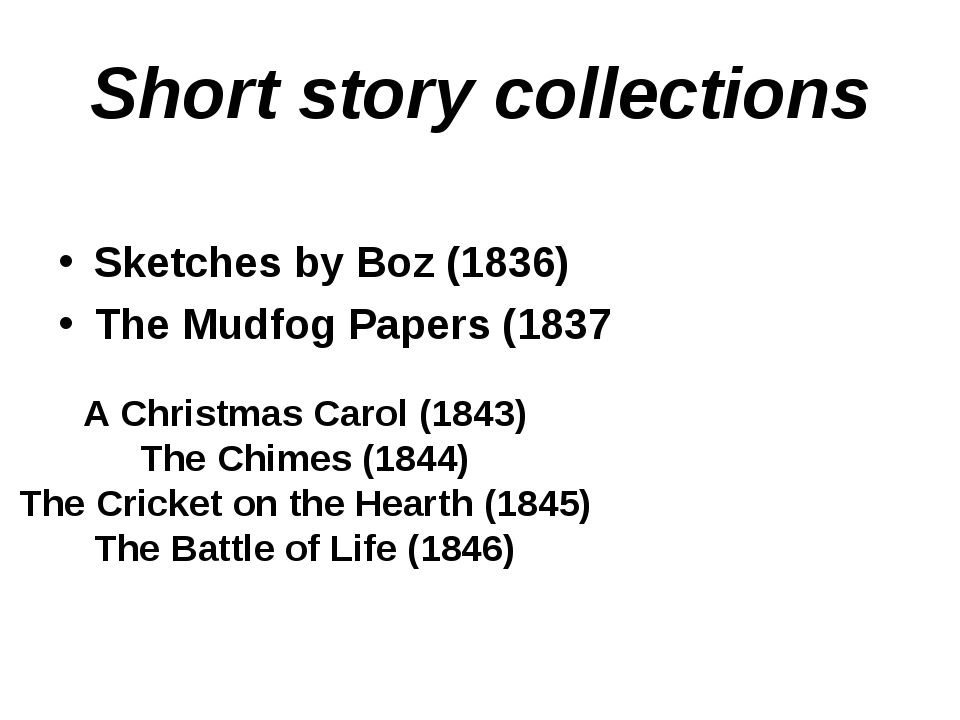 Short story collections Sketches by Boz (1836) The Mudfog Papers (1837 A Chri...