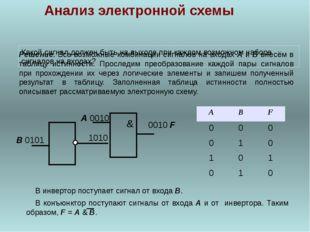 В конъюнктор поступают сигналы от входа А и от инвертора. Таким образом, F =