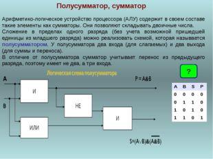 Полусумматор, сумматор Арифметико-логическое устройство процессора (АЛУ) соде