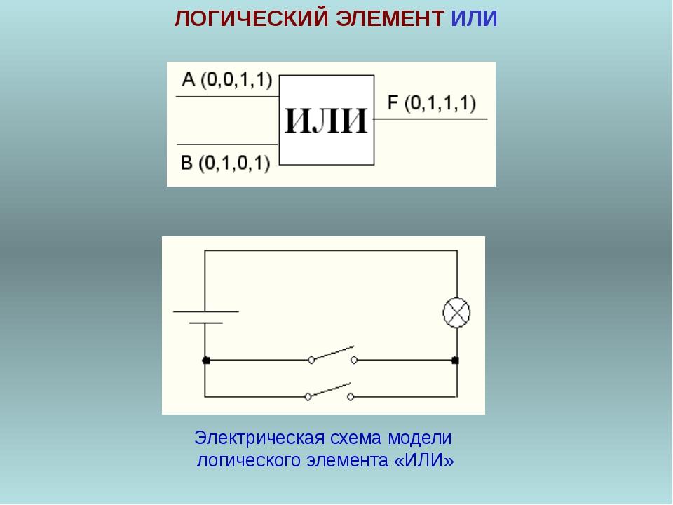 ЛОГИЧЕСКИЙ ЭЛЕМЕНТ ИЛИ Электрическая схема модели логического элемента «ИЛИ»