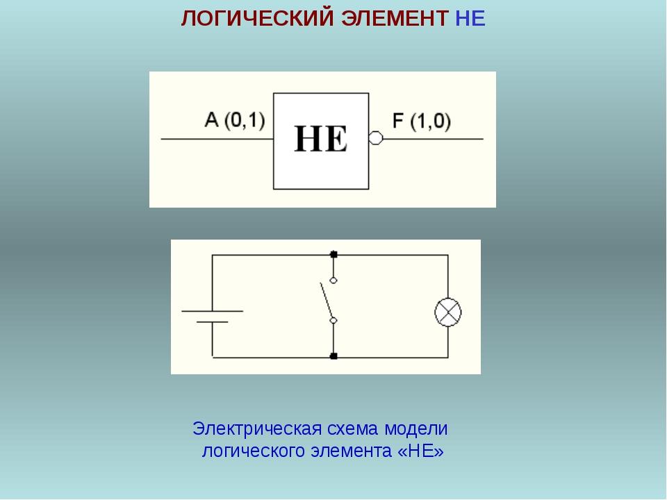 ЛОГИЧЕСКИЙ ЭЛЕМЕНТ НЕ Электрическая схема модели логического элемента «НЕ»