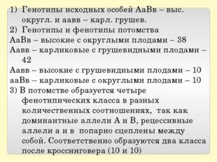 Генотипы исходных особей АаВв – выс. округл. и аавв – карл. грушев. Генотипы