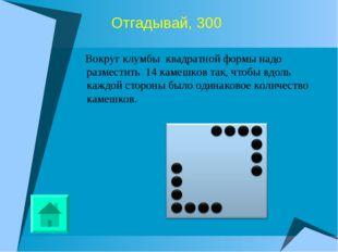 Отгадывай, 300 Вокруг клумбы квадратной формы надо разместить 14 камешков так
