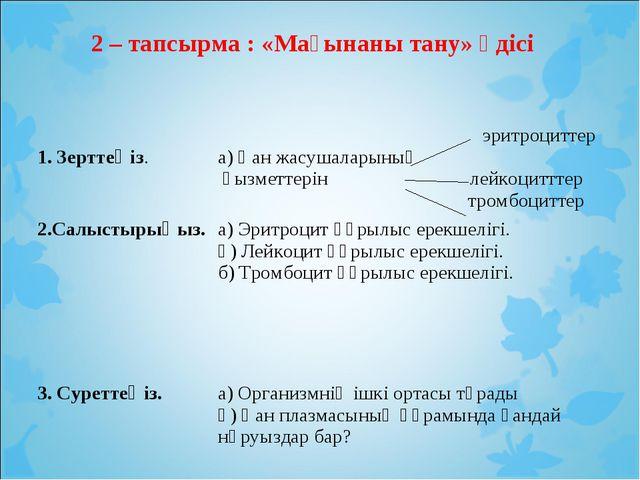 2 – тапсырма : «Мағынаны тану» әдісі 1. Зерттеңіз. эритроциттер а) Қан жасуш...