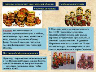 Народные промыслы Нижегородской области Хохлома этодекоративная росписьдере