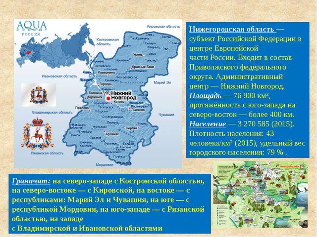 Нижегородская область— субъектРоссийской Федерациив центре Европейской час...