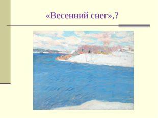 «Весенний снег»,?