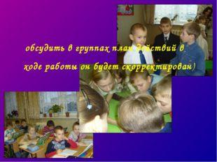 обсудить в группах план действий в ходе работы он будет скорректирован)