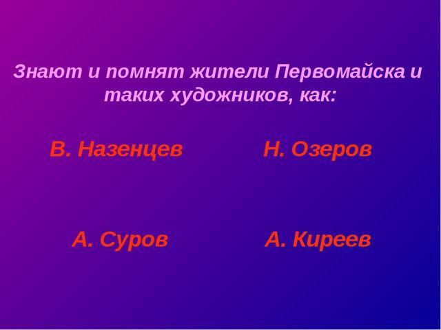 Знают и помнят жители Первомайска и таких художников, как: В. Назенцев А. Сур...