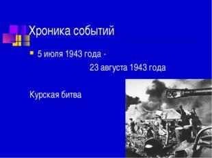 Хроника событий 5 июля 1943 года - 23 августа 1943 года Курская битва