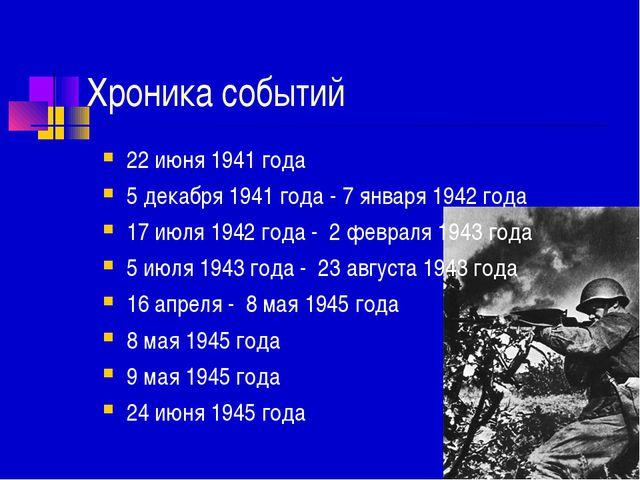 Хроника событий 22 июня 1941 года 5 декабря 1941 года - 7 января 1942 года 17...