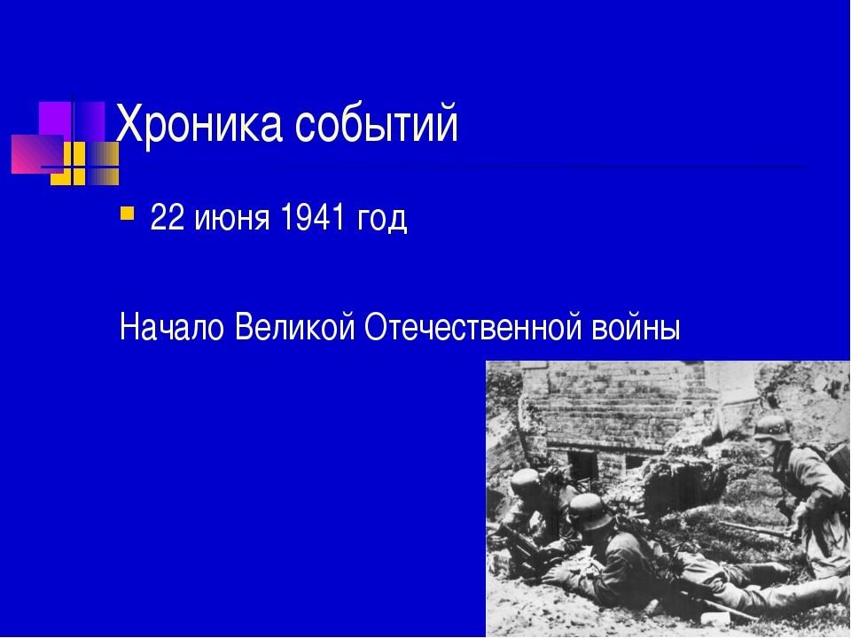 Хроника событий 22 июня 1941 год Начало Великой Отечественной войны