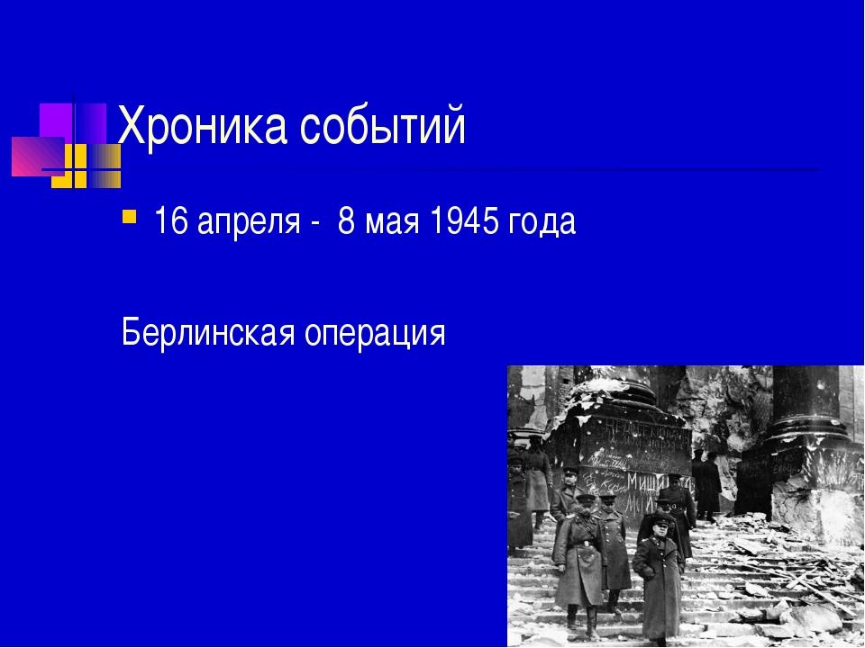 Хроника событий 16 апреля - 8 мая 1945 года Берлинская операция