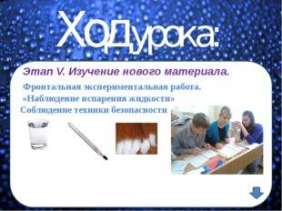 Ход урока: Этап V. Изучение нового материала. Фронтальная экспериментальная р