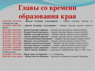 Главы со времени образования края 20.10.1938—16.02.1939— Донской Владимир Ал