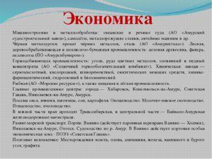 Машиностроение и металлообработка: океанские и речные суда (АО «Амурский судо