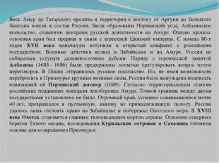 Весь Амур до Татарского пролива и территория к востоку от Аргуни до Большого