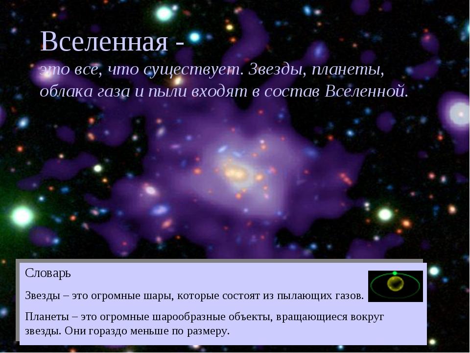 Вселенная - это все, что существует. Звезды, планеты, облака газа и пыли вход...
