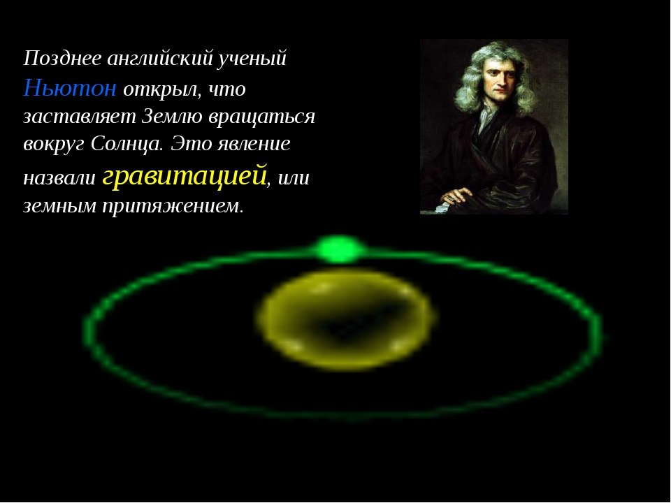 Позднее английский ученый Ньютон открыл, что заставляет Землю вращаться вокру...