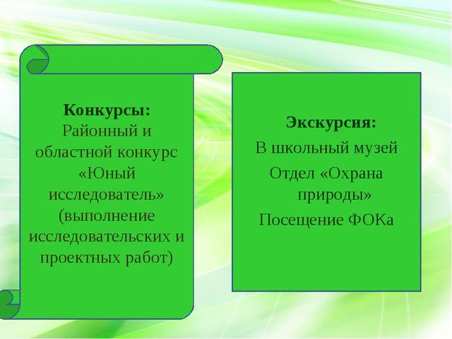 Конкурсы: Районный и областной конкурс «Юный исследователь» (выполнение иссл...