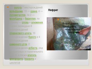 Нефрит 247 золота 7 месторождений вольфрама, 13— урана, 4— полиметаллов, п