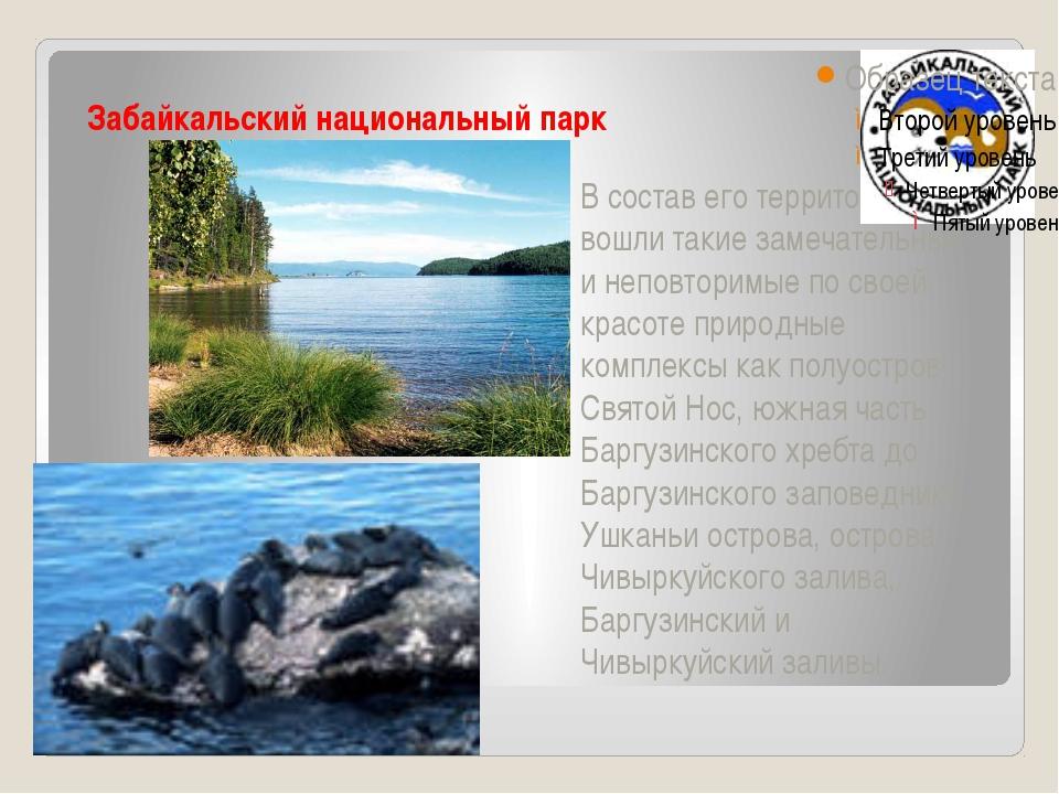 Забайкальский национальный парк В состав его территории вошли такие замечате...