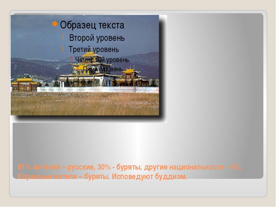 61% жителей – русские, 30% - буряты, другие национальности – 9%. Коренные жит...