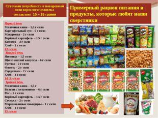 Примерный рацион питания и продукты, которые любят наши сверстники Первый ден