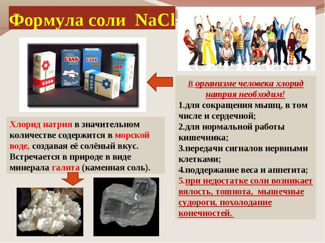 Формула соли NaCl В организме человека хлорид натрия необходим! для сокращени...
