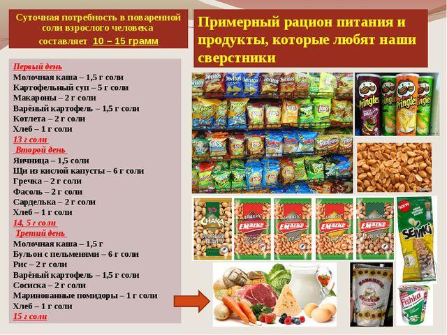Примерный рацион питания и продукты, которые любят наши сверстники Первый ден...