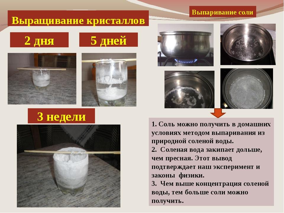 Выращивание кристаллов 2 дня 3 недели 5 дней Выпаривание соли 1. Соль можно п...