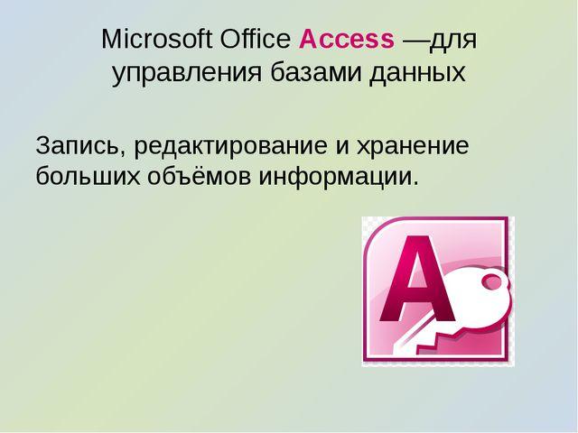Microsoft Office Access —для управления базами данных Запись, редактирование...