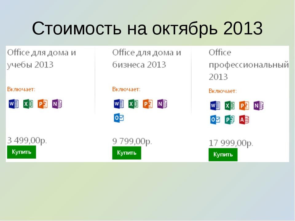 Стоимость на октябрь 2013