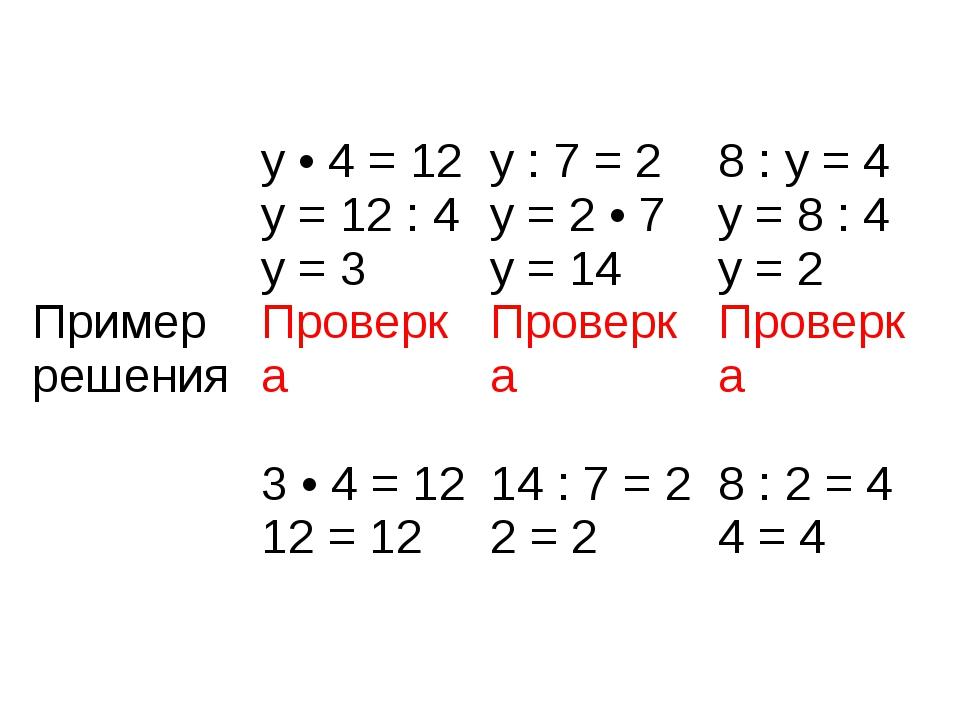 Примеррешения y • 4 = 12 y = 12 : 4 y = 3 Проверка 3 • 4 = 12 12 = 12 y : 7 =...