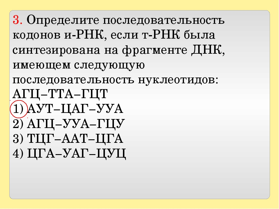 3. Определите последовательность кодонов и-РНК, если т-РНК была синтезирован...