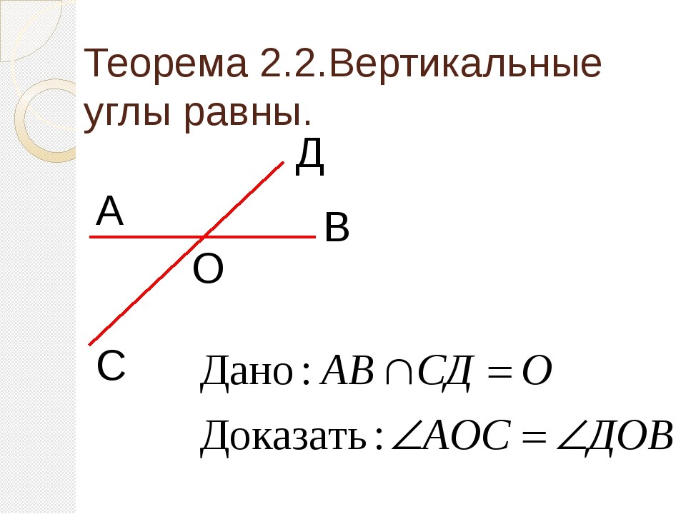 Теорема 2.2.Вертикальные углы равны. О Д С В А