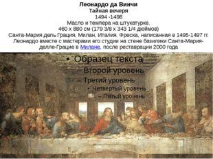 Леонардо да Винчи Тайная вечеря 1494 -1498 Масло и темпера на штукатурке. 460