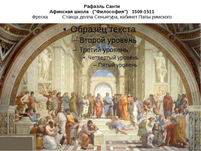 """Рафаэль Санти Афинская школа (""""Философия"""") 1509-1511 Фреска Станца делла Сен..."""