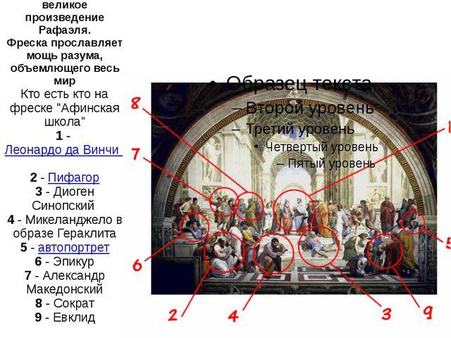 """Афинская школа"""" - великое произведение Рафаэля. Фреска прославляет мощь разум..."""