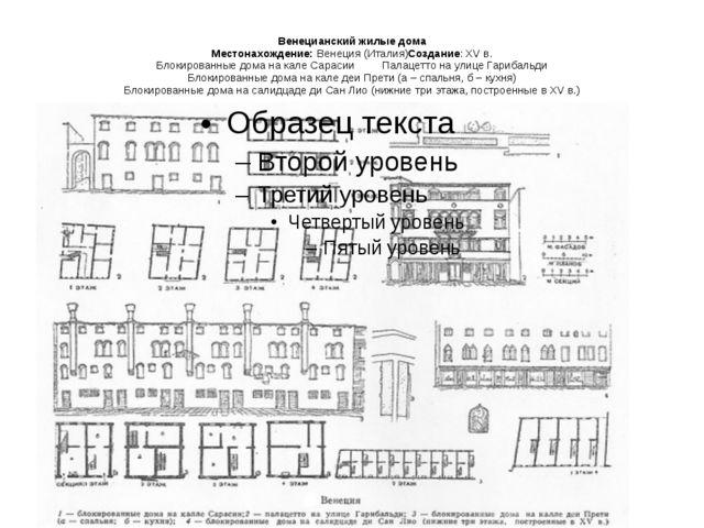 Венецианский жилые дома Местонахождение:Венеция (Италия)Создание: XV в. Блок...