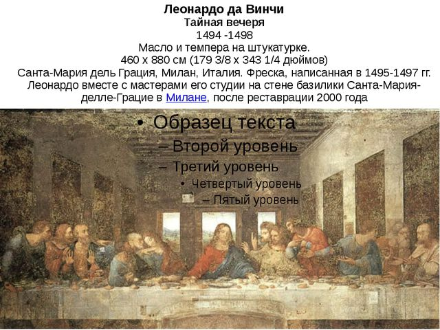 Леонардо да Винчи Тайная вечеря 1494 -1498 Масло и темпера на штукатурке. 460...